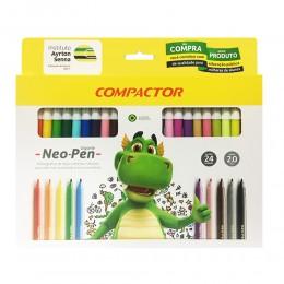 Caneta Hidrografica c/24 Cores Neo Pen - Compactor