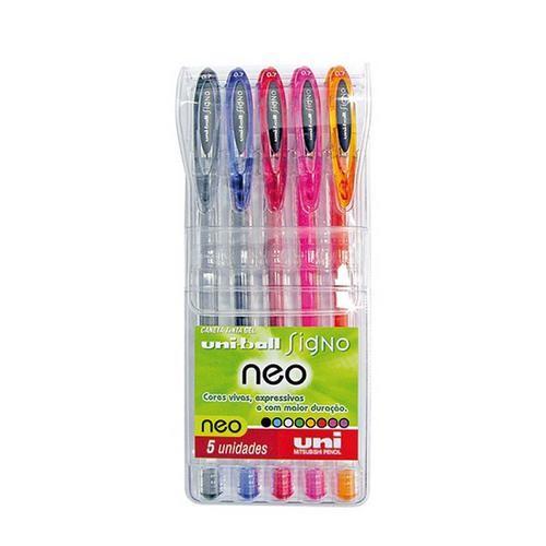 Caneta Gel Uni-ball Neo Signo Estojo com 5 cores