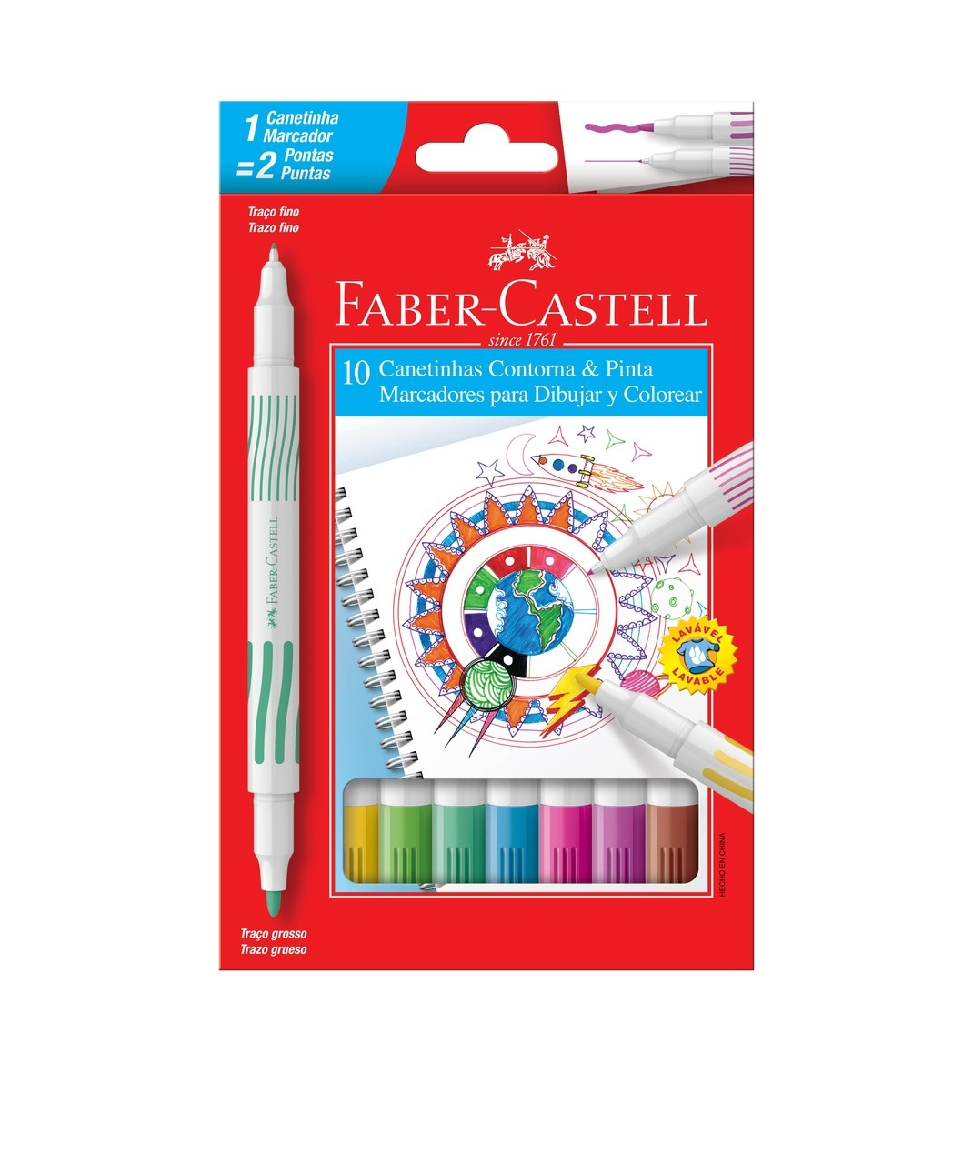 Canetinha 2 pontas C/10 Cores Faber-Castell