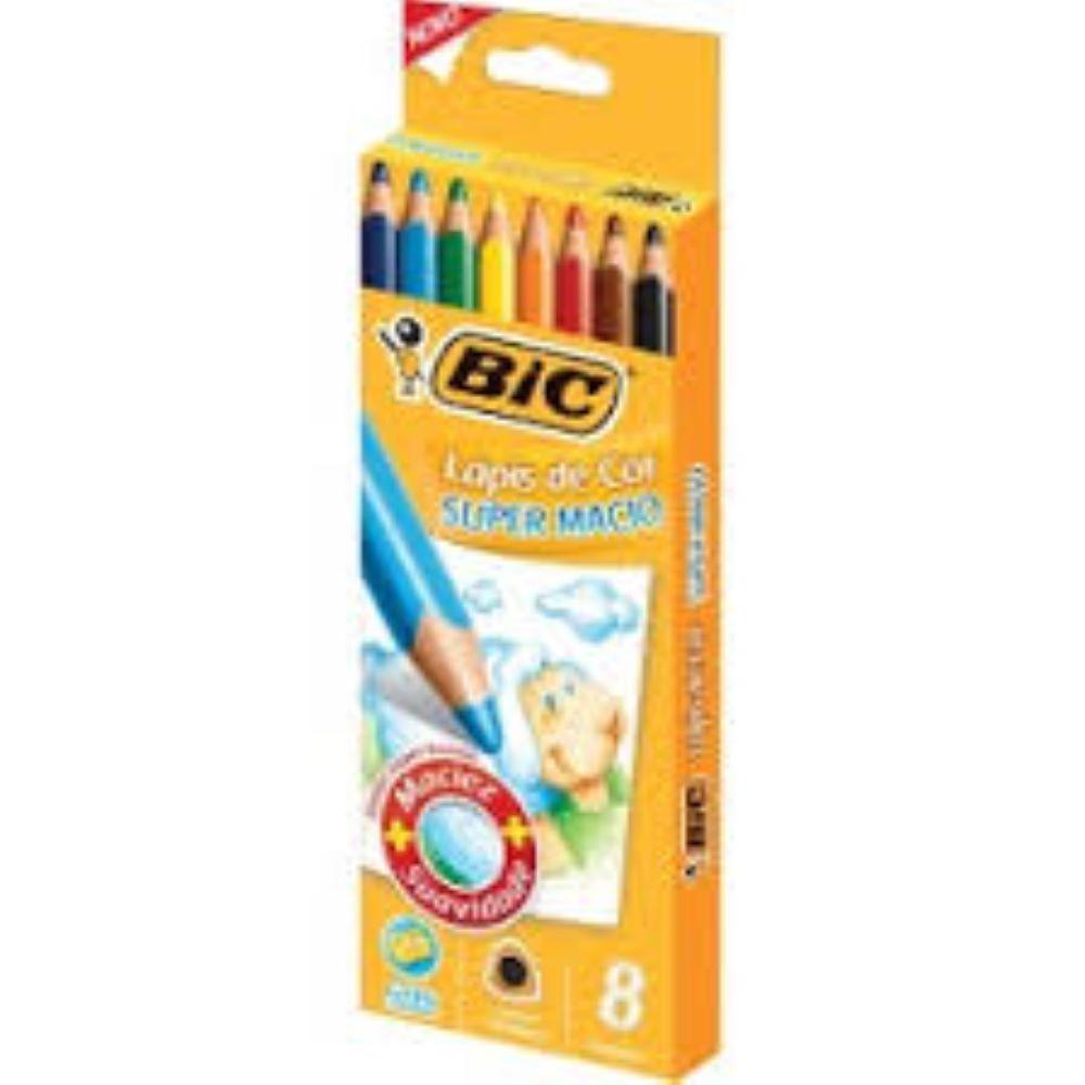 Lápis de Cor Gigante com 08 cores Bic Super Macio