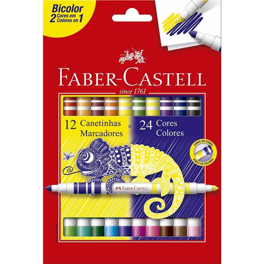 Caneta Hidrocor Bicolor 24 cores 12 canetinhas Faber Castell