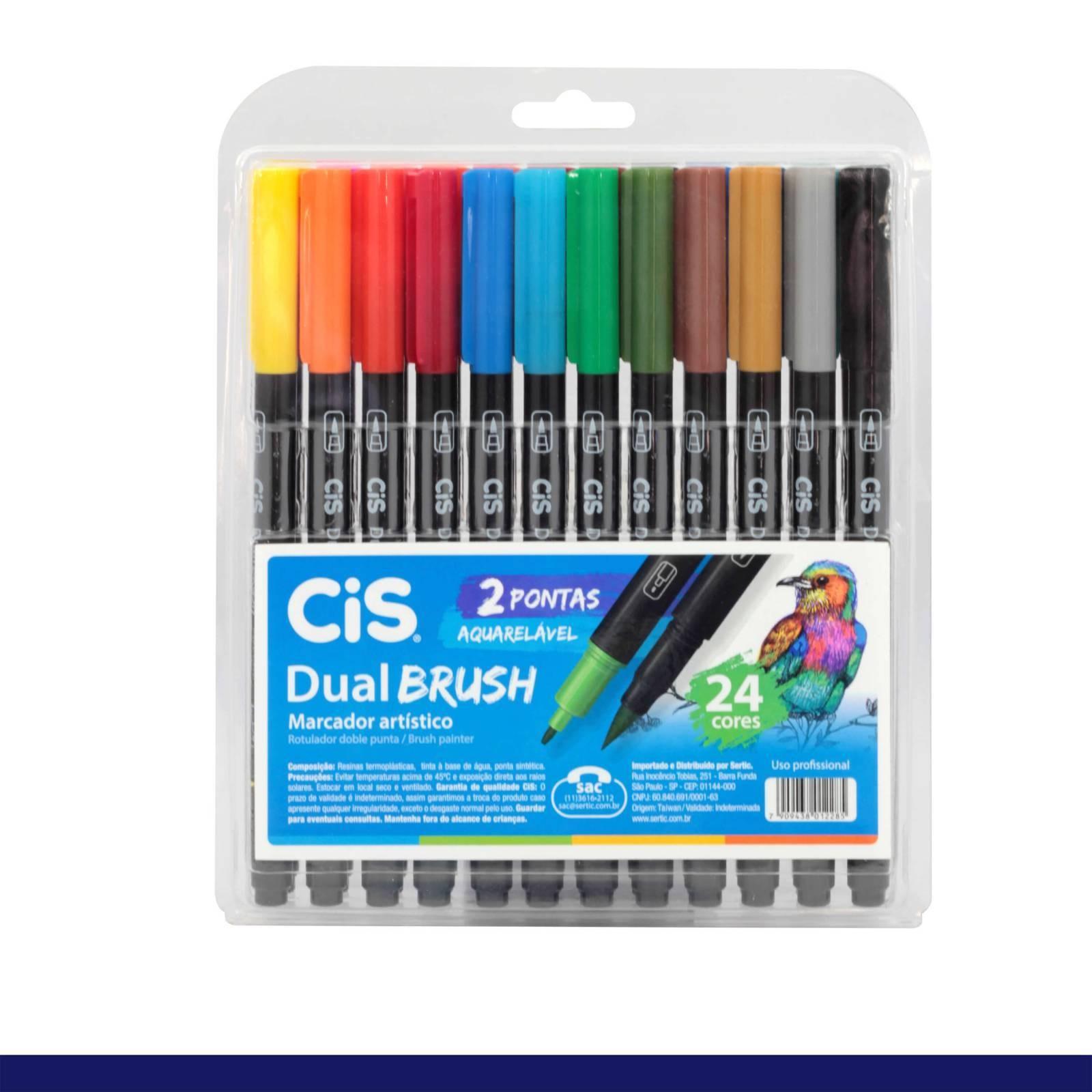 Caneta Dual Brush c/2 Pontas Aquarelavel 24 cores