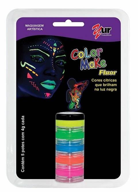Pintura Facial Cremosa C/ 5 Cores Fluor - Color Make