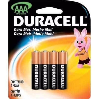 Pilha Duracell Alcalina AAA C/4 unidades
