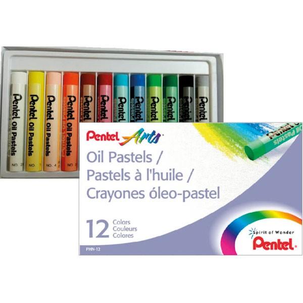 Giz Pastel Oleoso Estojo com 12 cores Pentel