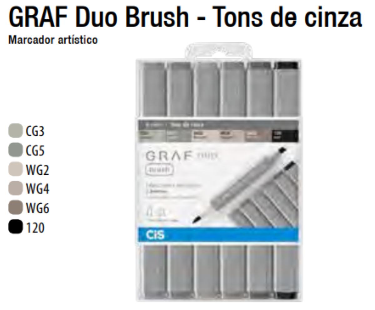 Caneta Cis Graf Duo Brush 2 pontas c/06 cores Tons de Cinza