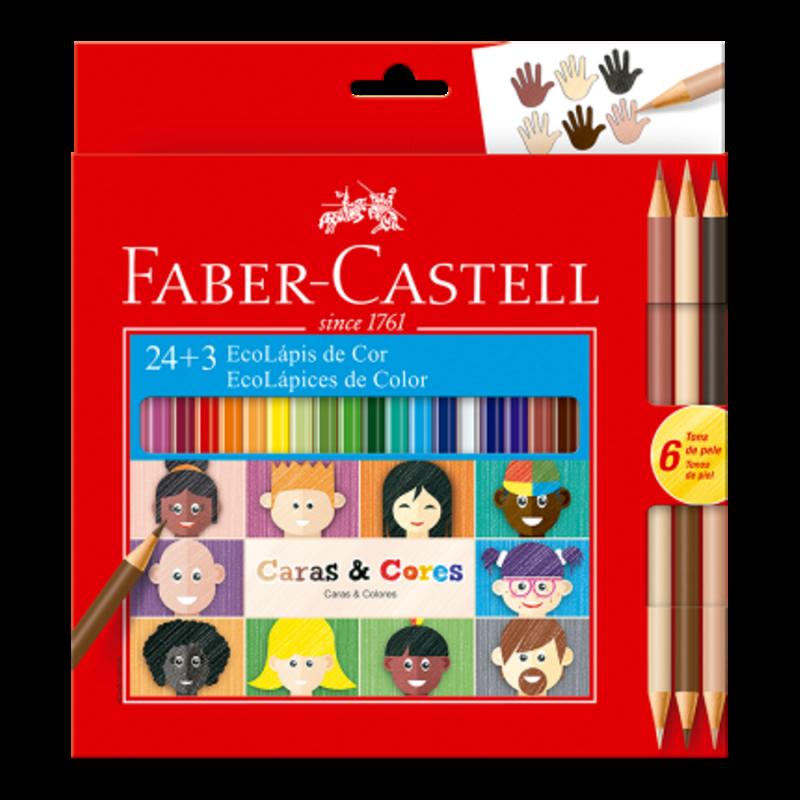 Lápis de Cor 24 Cores + 3 Lápis Tons de Pele Faber-Castell