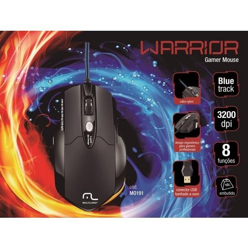 Mouse Warrior Gamer Pro Com 8 Botões 3200dpi + Mousepad Mo191 Multilaser