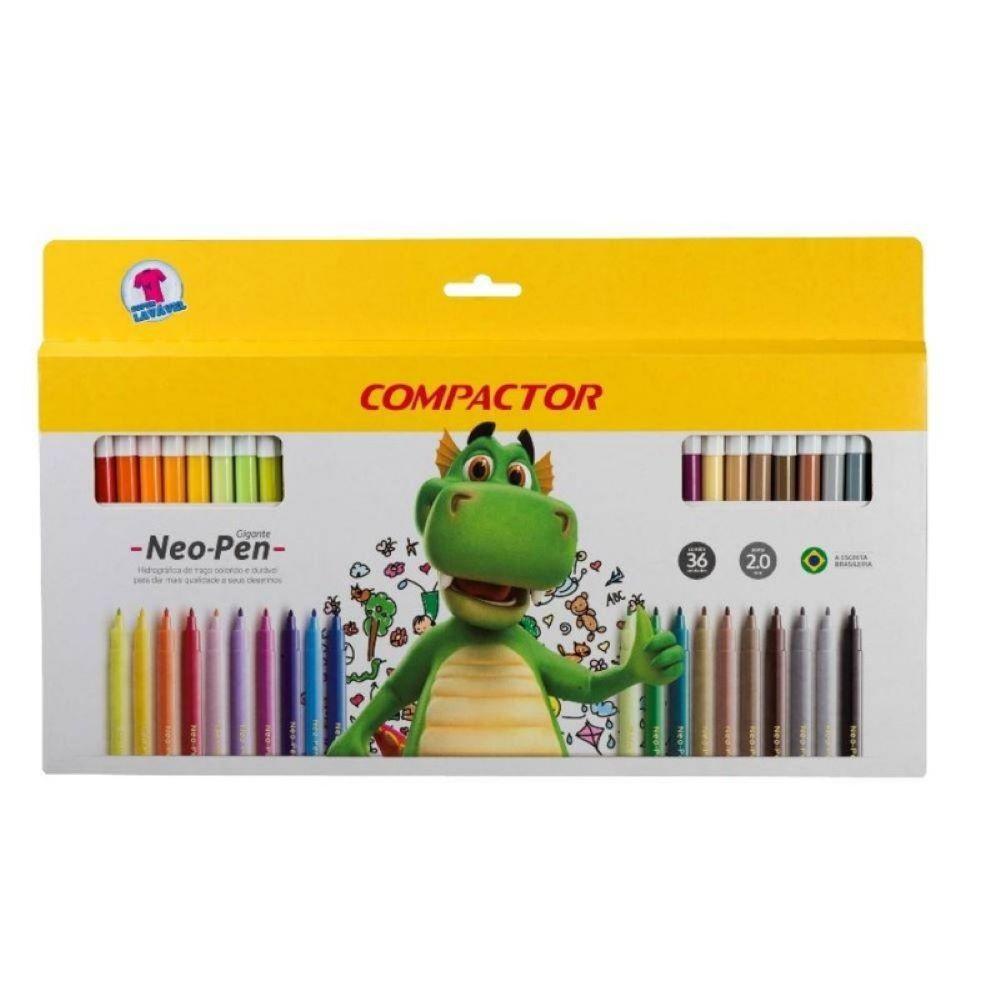 Caneta Hidrocor c/36 cores - Neo pen Compactor