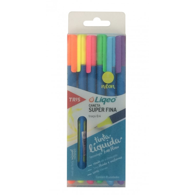 Caneta Liqueo 06 cores NEON