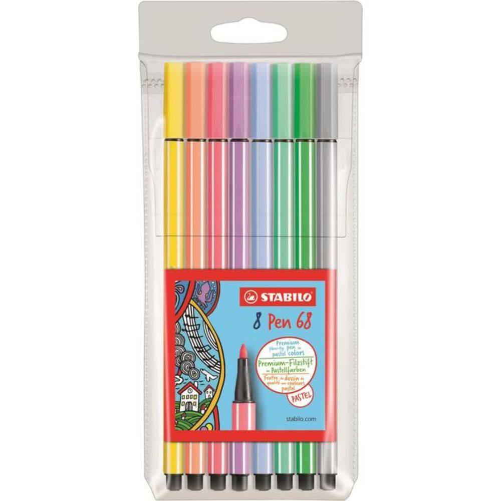 Caneta Stabilo Pen 68 C/8 Cores Pastel