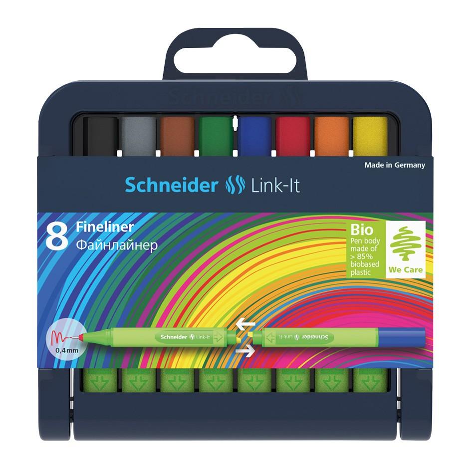Estojo de Caneta Schneider Fineliner 08 Cores Link-it