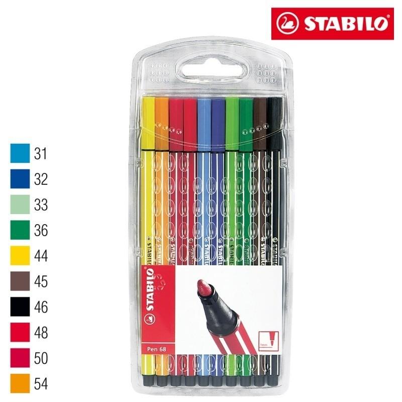 Caneta Stabilo pen 68 com 10 cores