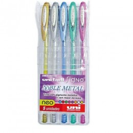 Caneta Gel Uni-ball Signo Noble Metal Colour Estojo com 5 cores