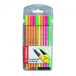 Caneta Stabilo - Kit c/ 5 point 88 Neon e 5 pen 68 Neon