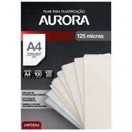 Filme para Plastificação Aurora - Tamanho A4 - 100 Folhas