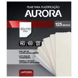 Filme para Plastificação Aurora - Tamanho RG - 100 Folhas