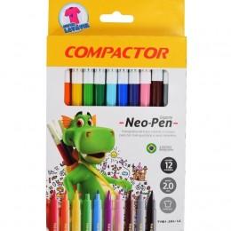 Caneta Hidrografica 12 cores Neo-pen