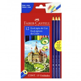 Lápis de Cor 12 Cores + 3 EcoLápis Grafite Faber Castell