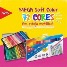 Lápis de Cor 72 Cores Estojo Metálico - Tris Mega Soft