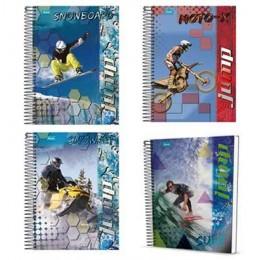 Caderno Espiral Capa Dura 10x1 200 Folhas kit com 4 cadernos