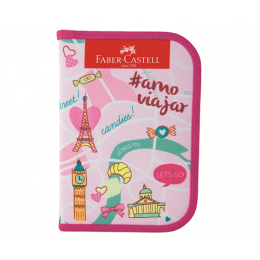 Estojo Faber Castell Nylon c/18 itens - Lets Go Rosa