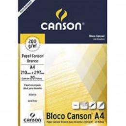 Bloco Canson Desenho A4 200g Branco 20fls