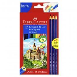 Lápis de Cor Ecolápis 12 Cores + 3 EcoLápis Grafite Faber Castell