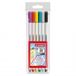 Caneta Brush Stabilo Pen 68 com 06 cores