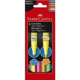 Caneta Vai e Vem Neon C/06 Faber Castell